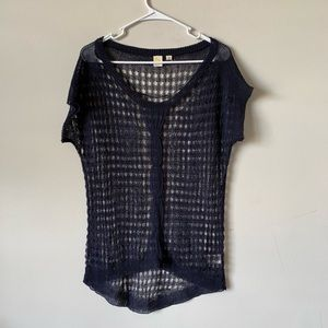 Anthropologie Navy crochet sheer sexy boho blouse